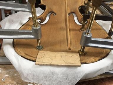 厚さ補強 バイオリンリペア