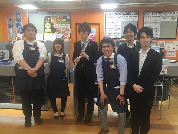 イベント終了後 尾形誠さんと島村楽器郡山店スタッフで