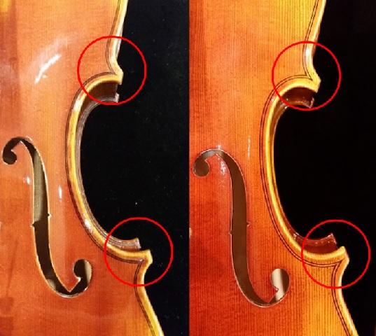 バイオリン ガルネリモデル ストラディバリモデル コーナーとパーフリング