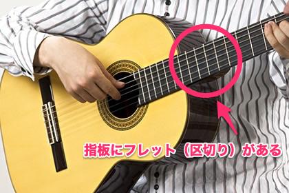 ギターの場合は指板にフレット(区切り)がある