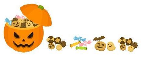 ハロウィンオバケカボチャとお菓子