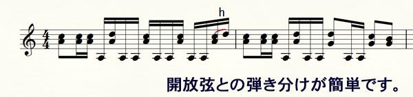 開放弦との弾き分けが簡単です