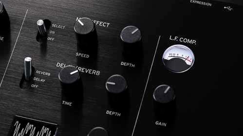 アナログ・コンプレッサーとブースター  上記のエフェクト以外に、「prologue-16」 には新開発のマスター・エフェクト「L.F. COMP」が搭載され専用のVU メーターも装備されています。アナログ回路によるロー・ブースター/コンプレッサーで、単なるEQ では得られない、芯のある音圧感を提供。最大限に効果が発揮される大音量のステージで、その違いを感じ取ってください。