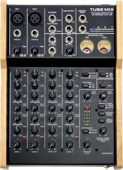 ART ( エーアー </p>  <p>ルティー ) は、オーディオインターフェイス搭載のコンパクトミキサー「Tube Mix」を発表いたしました。  「Tube Mix」は、チューブとアナログVUメーターを搭載した5チャンネルのステレオUSBミキサーです。  2つのマイク・ライン入力、1つの高インピーダンス楽器入力(ch5のみ)、2つのライン入力を装備。すべての入力チャンネルは、3バンドのEQ、2つのAUXセンド、パン/レベルがコントロールできます。また、最適なレベル設定のためのトリムとクリップインジケーターおよびLEDメーターが含まれています。  「Tube Mix」にはオーディオインターフェイス機能も搭載しているためホームスタジオ録音にも最適です。メイン出力かAUXバスのUSBソースを切替えるスイッチを搭載しているため多用途にご使用できます。また、USB 出力するレベルをモニターできるVUメーターも装備されています。  「Tube Mix」の最大の特徴は12AX7 真空管が搭載されていることです。 1ch-2chのマイクあるいはch5に割り当てることが可能で、ゲインを上げるためではなくギターやベース、ボーカルに真空管独特の暖かさとトーンを加えます。また真空管は、トリムとEQの間に配置されているので、EQでチューブのキャラクターを微調整することもできます。さらに、ギター用にアンプ・シミュレーション機能も搭載。もちろん、真空管と一緒に使用可能です。