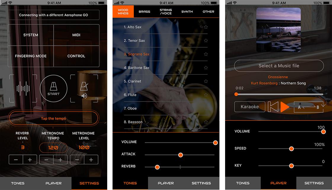 iOSアプリ: Aerophone GO Plus 無料でダウンロードできる専用アプリ「Aerophone GO Plus」は、アプリに 50 個の音色を内蔵し、「Aerophone GO」とワイヤレス接続することでさまざまな楽器音の演奏を楽しめます。  スマートフォンやタブレットに入っている音楽を再生しながら、曲のテンポやキー変更、センター・キャンセルを使ってカラオケ演奏、練習に役立つ A/B リピートもできます。さらに、本体からは操作できない運指変更やバイト・コントロールなどの設定やエディットも行うことができます。