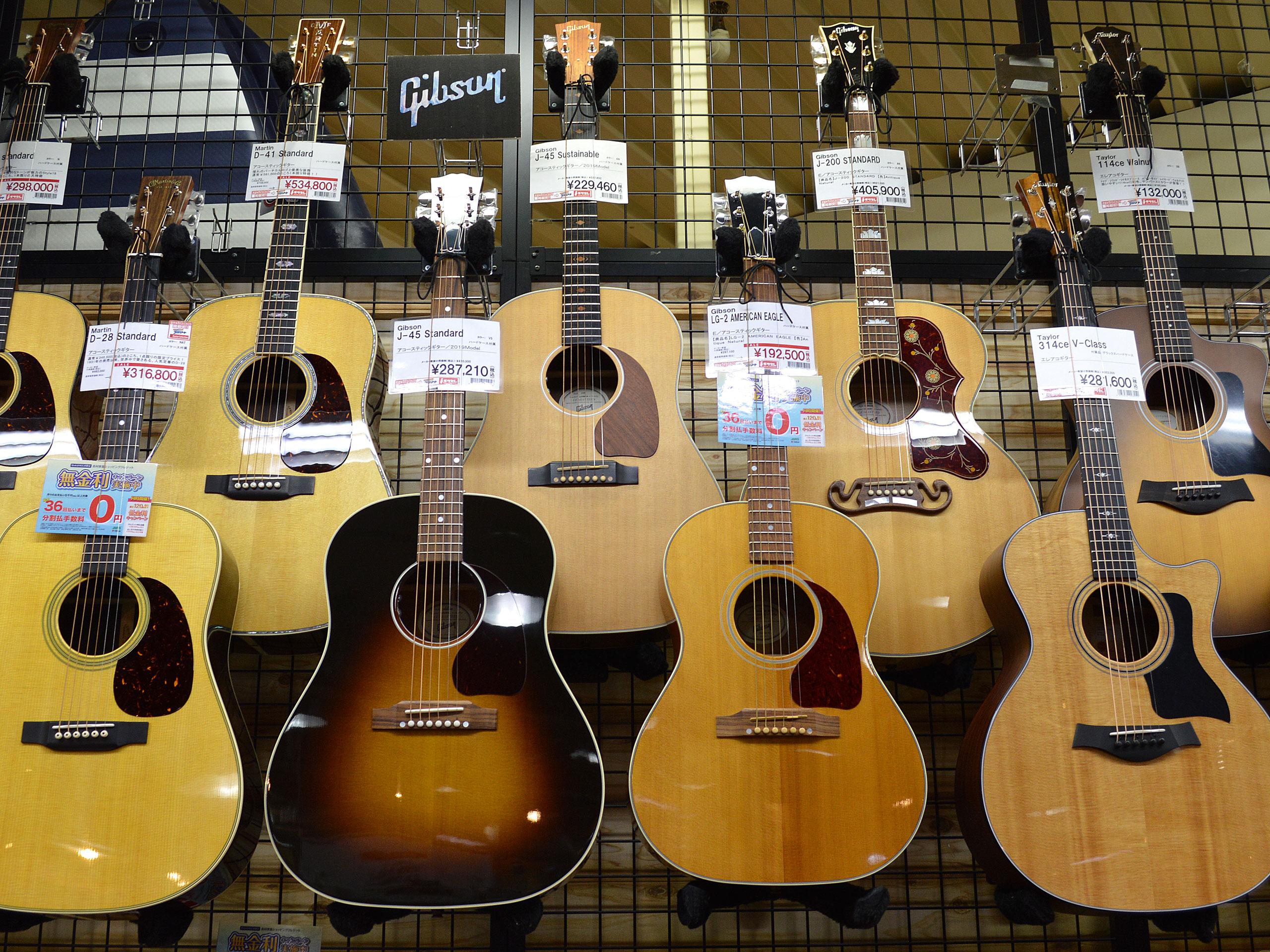 Gibsonアコースティックギター店頭画像