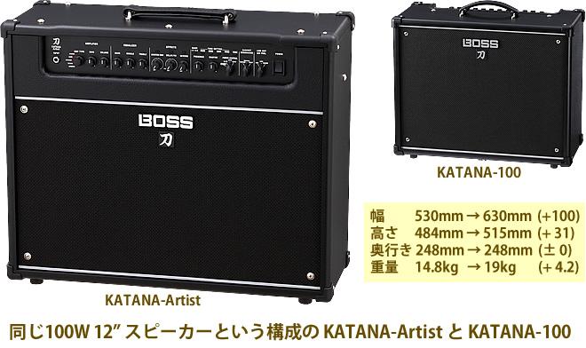 「BOSS KATANA-Artist」と「KATANA-100」の外観を比較してみました。