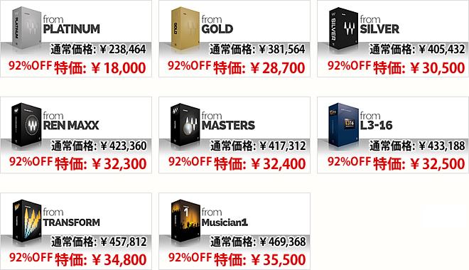 PLATINUM, GOLD, SILVER, REN MAXX, MASTERS, L3-16, TRANSFORM, Musician1 からHORIZON へのアップグレード価格一覧