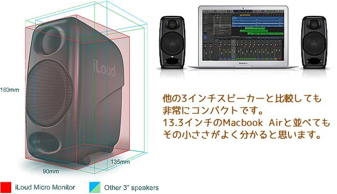 他の3インチスピーカーと比較しても「iLoud Micro Monitor」はコンパクトです。