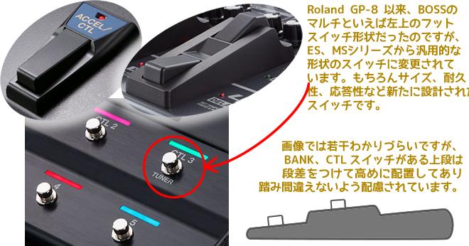 BOSS GT-1000 のフットスイッチは、BOSS マルチの系譜から離れて、サイズ&耐久性&応答性など新たに再設計されたものです。