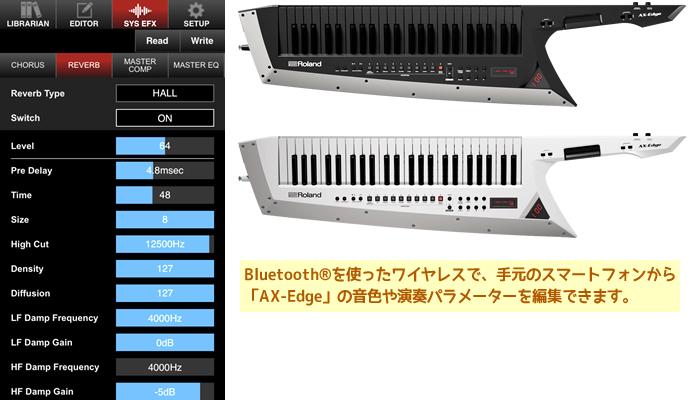 スマートフォン専用の無料アプリ「AX-Edge Editor」で、「AX-Edge」のサウンド編集が可能です。
