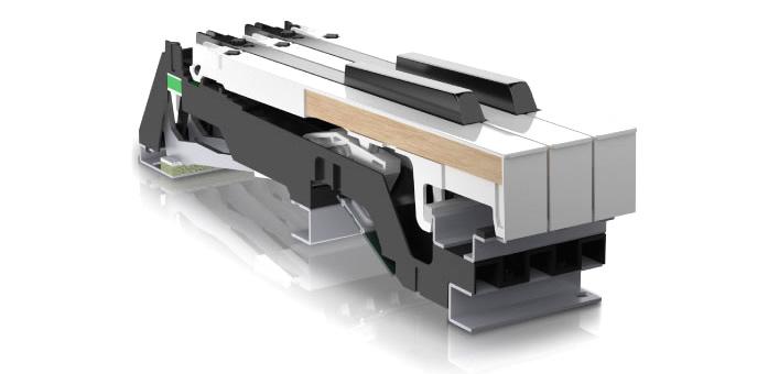「LX708」のハイブリッド・グランド鍵盤