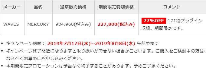「Waves Mercury」日本限定プロモーション価格表