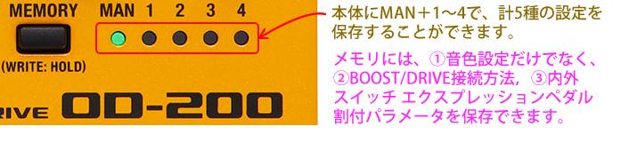 「OD-200」で作り込んだサウンドは、4+1まで切り替えて演奏することが可能です。