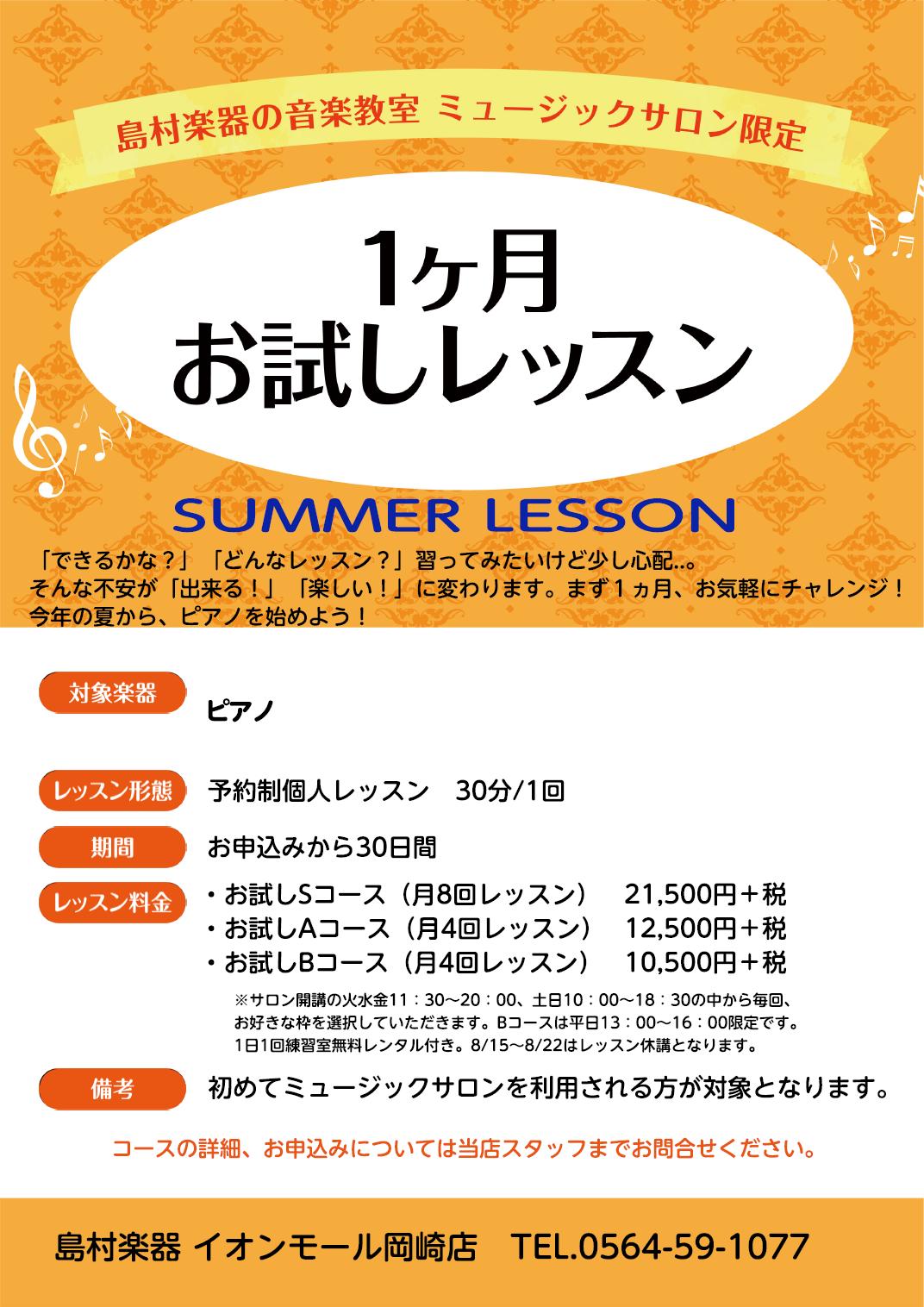 夏の1か月コース詳細