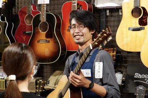 スタッフ写真アコースティックギター、エフェクター、アンプ諏訪