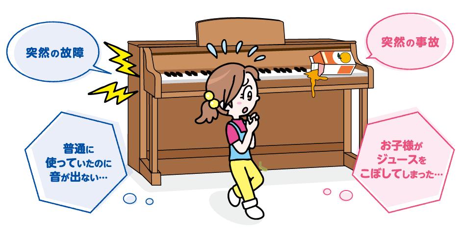 通常の使用をしていたのに音が出なくなってしまった ジュースなどの液体をこぼして故障してしまった お子様が誤って鍵盤のすき間に紙などを入れてしまって故障した