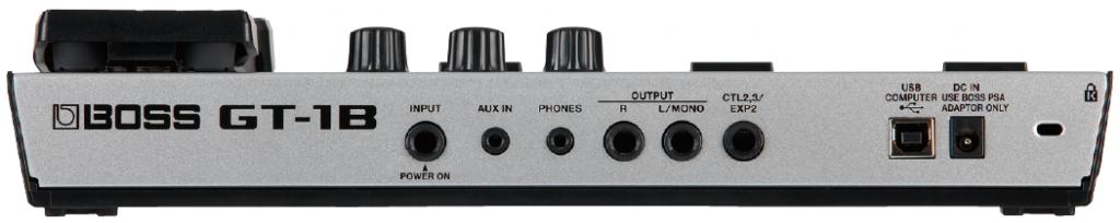 小型ながら十分な端子を搭載。外部コントロール端子でエクスプレッションペダルとの接続も可能です。
