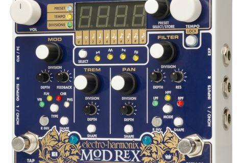 Mod Rexは、魅力的で変革的なサウンドのタペストリーを織り成すことが出来るキネティックな傑作。 心臓部は、ビブラート、フランジャー、コーラス、フェイザーなどの素晴らしいモジュレーション・サウンドを作り出すMODセクション、トレモロ・エフェクトを作り出すTREMセクション、ステレオ接続時に音像を左右にモジュレーションさせることが出来るPANセクション、フィルタータイプを3つのタイプから選択できるFILTERセクションの4つで構成されています。 各モジュレーション・セクションのパラメーターは独立、個別に設定が可能。また4セクションのテンポ設定は、タップテンポ・スイッチによるテンポ入力、エクスプレッション・ペダルでのコントロール、MIDIクロックや外部パルスクロック等を使用した外部デバイスとの同期も可能となっています。 さらに各セクションでは、rising sawtooth、triangle、falling sawtooth、squareの4つのLFOシェイプを選択することが出来ます。 ■主な特徴 テンポが同期した最大4つの独立したモジュレーション・セクション ビブラート、フランジャー、コーラス、フェイザーの4つのタイプから選択可能なモジュレーション・セクション 独立したトレモロ、パンニング、フィルターセクション 9つのパターンから選択可能なサブディビジョン・パターン 4パターンのLFOシェイプを搭載 MIDIクロックや外部パルスクロック、その他MIDIメッセージによるリモートコントロールに対応 モジュレーションレートをタップテンポや外部エクスプレッション・ペダルで設定可能 最大100までセーブ可能なプリセット機能搭載
