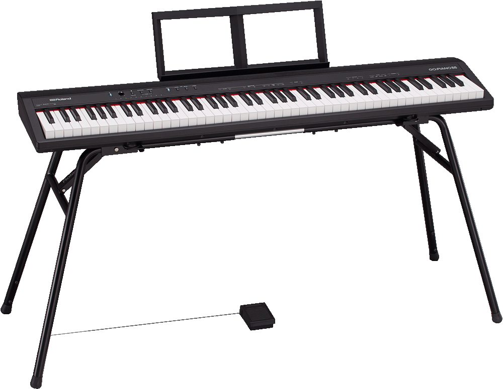 電子ピアノから厳選されたサウンド </p>  <p>ローランドの電子ピアノのサウンドを継承したピアノ音色に加えて、エレピ、オルガン、ストリングスの計 4 種類の音色が厳選して内蔵されています。</p>  <p>また、2 人で一緒に弾くこともできるツインピアノ機能や、2 種類の音色を重ね合わせよりリッチに演奏できるデュアル・モードも可能。</p>  <p>さらに、「GO:MIXER Pro」 と組み合わせれば、動画配信も簡単に楽しむことができます。