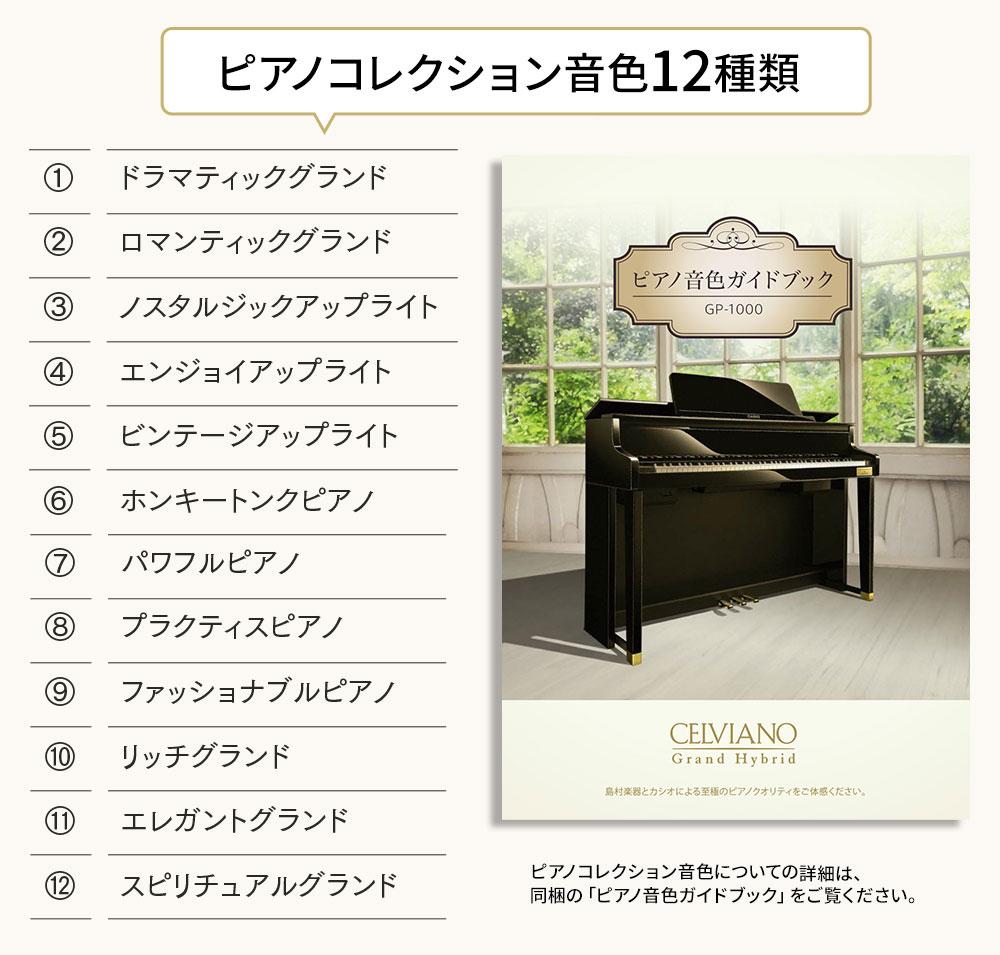 このモデルのために開発された12の特別なピアノ音色